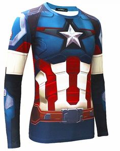long sleeve Captain America Shield t shirt avengers age of ultron costumes
