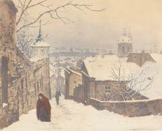 Tavik Frantisek Simon«The Stairs of the Catle in Winter, 1926 European Paintings, Winter Art, Winter Scenes, Beautiful Paintings, Figure Painting, Landscape Art, Art Images, Art History, Illustrators