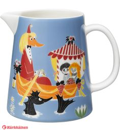 """The new Moomin Friendship pitcher by Arabia from 2016 features the famous motive from the book """"Who will comfort Toffle? Arabia's artist Tove Slotte has designed this delightful Moomin object keeping with the original drawings by Tove Jansson. Moomin Shop, Moomin Mugs, Tove Jansson, Ceramic Pitcher, Jar Storage, Potpourri, Blue Backgrounds, Scandinavian Design, Nordic Design"""