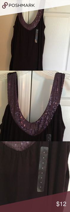 "GAP Tank NWT Deep purple Sequins around neck and shoulders Tucks around  bodice 27"" from 570f66f98"