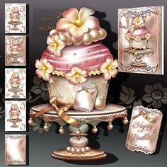Vintage Delicious Cake on Craftsuprint designed by Atlic Snezana - Vintage Delicious Cake: 5 sheets for print with decoupage for 3D effect plus few sentiment tags (for your own personal text) - Now available for download!