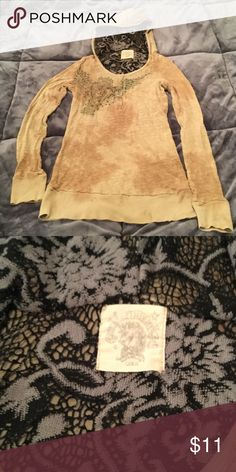 Lace Hooded long sleeve shirt In great condition, unfortunately I can't remember the brand and I can't read read tag. Inside hood has beautiful black lace. Size L but runs small Tops Tees - Short Sleeve
