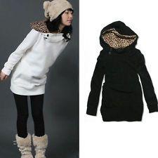 Hot Women Hoodie Leopard Tops Black Sweater Pullover Outerwear Coat Sweatshirt