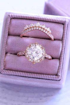 30 The Most Stunning Bridal Sets ❤️ bridal sets rose gold halo vintage ❤️ See more: http://www.weddingforward.com/bridal-sets/ #weddingforward #wedding #bride #engagementrings #bridalsets