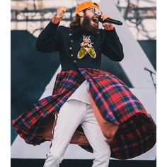 Jared Leto wearing custom pieces from Gucci while performing during the 30 seconds to mars Summer tour.