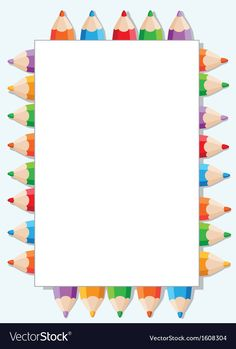 Color pencils and paper vector image on VectorStock Educational Activities For Preschoolers, Picture Borders, School Border, Bedroom Drawing, Arabic Alphabet For Kids, Boarder Designs, Border Templates, Boarders And Frames, School Frame
