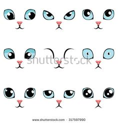 Set of funny cartoon blue cat eyes isolated on white. Vector illustration.