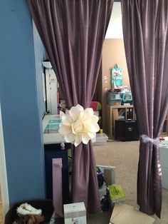 My version of Dahlia Curtain Tie Backs Pink Gray Bedroom, Baby Bedroom, Girls Bedroom, Bedrooms, Unique Curtains, Diy Curtains, Curtain Holder, Curtain Tie Backs, Christmas Crafts For Adults