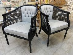 Marvelous Vintage Faux Bamboo Barrel Chairs