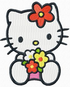 Hello Kitty sea of flowers machine embroidery design. Machine embroidery design. www.embroideres.com