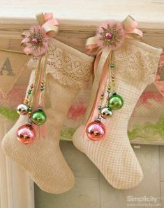 Shabby chic Christmas stockings vintage look pastels