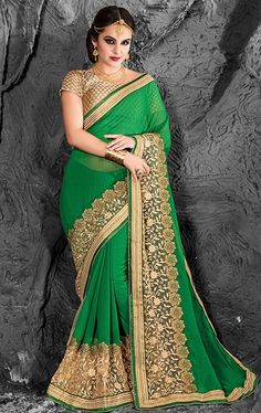 Picture of Fabulous Chrome Green Chiffon Saree