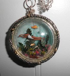 """""""Swimming the Reef"""" Glass Bauble Locket with Miniature Scene by Sheila A. Nielson"""