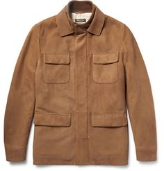 Loro Piana is world-renowned for its impeccable craftsmanship, and this tan field jacket is a handsome example. Designed in Italy from supple nubuck, it's detailed with a cosy ribbed knit-trimmed collar and fully lined in checked twill. The concealed felt button placket creates a streamlined silhouette and nods to the label's careful attention to detail. Wear yours at the weekend.