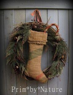 Primitive Christmas Wreath Burlap Stocking Shabby Candy Cane and Jingle Bells #NaivePrimitive #PrimbyNature