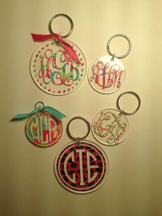 Lilly Pulitzer Inspired Monogrammed Keychains by PawsAndEnjoy