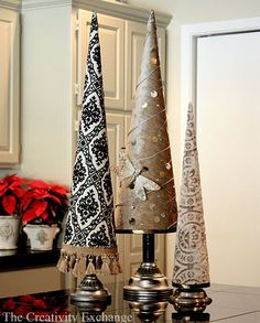 How to make these diy Christmas tree cones for Christmas decor. Fabric Covered Poster Board Tree Cones {Part Creativity Exchange Cardboard Christmas Tree, Fabric Christmas Trees, Cone Christmas Trees, Handmade Christmas Tree, Christmas Tree Crafts, Noel Christmas, All Things Christmas, Holiday Crafts, Holiday Decor