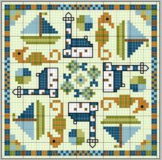 Lighthouses, boats and seahourses cross stitch chart via gazette94: biscornu