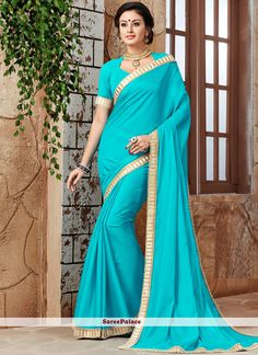 Buy latest collection of designer sarees including variety of sarees. Order this art silk aqua blue traditional designer saree for festival and party. New Saree Designs, Designer Sarees Online, Latest Sarees, Traditional Sarees, Indian Beauty Saree, Exclusive Collection, Lehenga, Silk, Clothes For Women