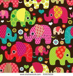 Seamless retro elephant kids pattern wallpaper background in vector - stock vector