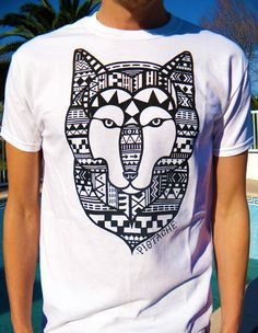 WOLF AZTEC T-SHIRT mens print boys 80s retro tribal native american indian top new white era hip hop clothing shirt art fabric aminal vtg