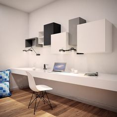 Modular shelves and wall cupboard TETREES Modern Office Design, Office Furniture Design, Modular Furniture, Office Interior Design, Office Interiors, Interior Design Living Room, Office Workspace, Home Office Desks, Study Table Designs