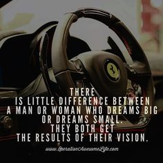 There is little difference between a man or woman who dreams big or dreams small.  They both get the results of their vision.