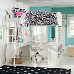 Chelsea Vanity Loft Bed | PBteen  pottery barn  awesome my daughter would love this!!