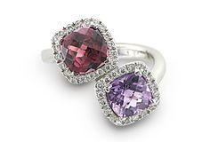 R3912A - Garnet and Amethyst Ring