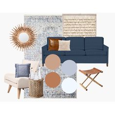 Blue And Copper Living Room, Blue Living Room Decor, Living Room Accents, Boho Living Room, Living Room Designs, Living Room Ideas Navy Sofa, Living Room Inspiration, Decoration, Navy Blue Leather Sofa
