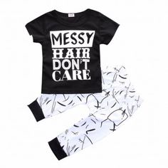 Letters Print Long-sleeve Tee and Pants Set for Baby Boys