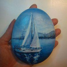#росписьгальки #росписьнакамне #рисункинагальке #авторскаяработа #миниатюрнаяроспись #сувенирныекамни #handmade #pebbleart #paintedstones #paintedrocks #sea #ship #арткамни_ГаЛизО