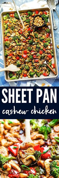 Sheet Pan Cashew Chicken is an all in one meal with the amazing flavors of the popular takeout dish. Tender chicken surrounded by crisp and tender veggies with crunchy cashews and an incredible sweet and savory sauce.
