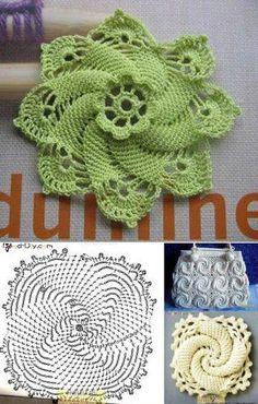 Scrap Potholders and Mats Set Crochet Pattern Free Crochet Square, Crochet Square Patterns, Crochet Diagram, Crochet Stitches Patterns, Crochet Squares, Crochet Motif, Crochet Doilies, Crochet Flowers, Crocheted Bags