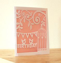 3D Effect Birdcage and Bunting Birthday Papercut Card - Choose your own colors