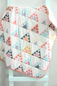 baby quilt coral teepee southwest bohemian by PETUNIAS blanket crib nursery…