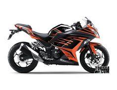 Decal Sticker Modifikasi Kawasaki Ninja 250 Fi SE (Special Edition) ABS Orange - IQ Black Orange