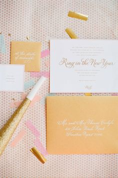 Wedding Invitation #Calligraphy by DeborahNadel.com | See more on Style Me Pretty: http://www.StyleMePretty.com/2014/01/01/pink-and-gold-wedding-inspiration/ Ruth Eileen Photography