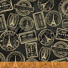 Postmark Fabric Passport Stamp  Destination Paris by