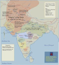 The White Huns were a race of largely nomadic peoples who were a part of the Hunnic tribes of Central Asia. They ruled over an expansive area stretching. History Of India, Asian History, World History, Ancient History, Tudor History, British History, India World Map, India Map, Shiva