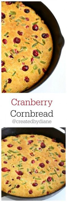 Cranberry Cornbread Recipe at @createdbydiane