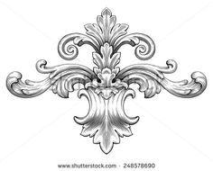 Vintage Baroque Frame Leaf Scroll Floral Ornament Engraving Border Retro Pattern Antique Style Swirl Decorative Design Element Black & White Filigree Vector