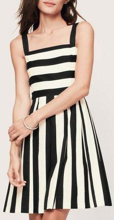 Stripe Pleated Cotton Linen Dress