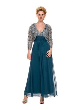 11109f29df8 Long Formal Mother of the Bride Plus Size Dress with Jacket Groom