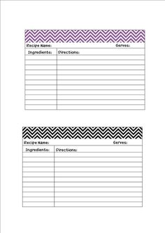Free Recipe Cards Printables