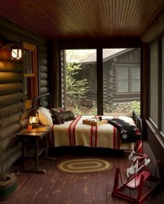 Traditional Porch Sleeping Porch Design, Pictures, Remodel, Decor and Ideas Lake Cabins, Cabins And Cottages, Outdoor Beds, Outdoor Living, Outdoor Bedroom, Lakeside Living, Traditional Porch, Traditional Bedroom, Sleeping Porch