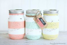 A bit of sandpaper on freshly painted pastel stripes gives these jars a signature aged look.