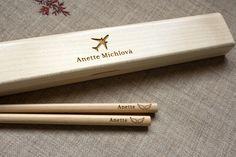 Engraved Chopstick Box - Lightwood