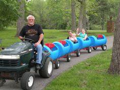 Plastic Barrel Train Tutorial wonderfuldiy2 Wonderful DIY Choo Choo Train from Plastic Barrel