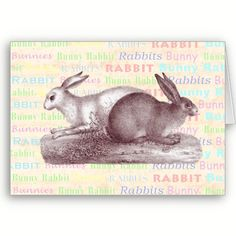 Two Rabbits - Charming Vintage Style Easter Card in Pastel Colors